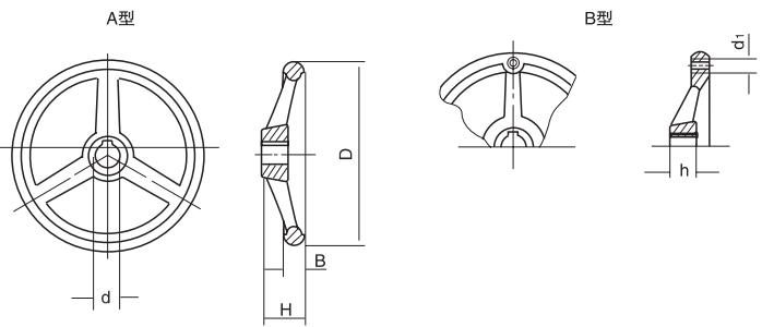 HY8313.5圆轮缘手轮结构图