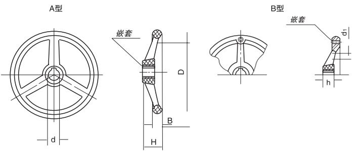 HY8313.5-1圆轮缘手轮结构图
