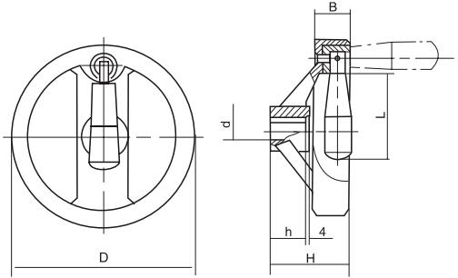 HY8313.10带可折手柄双辐条手轮结构图