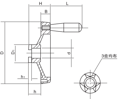 HY8313.23离合齿双辐条手轮结构图
