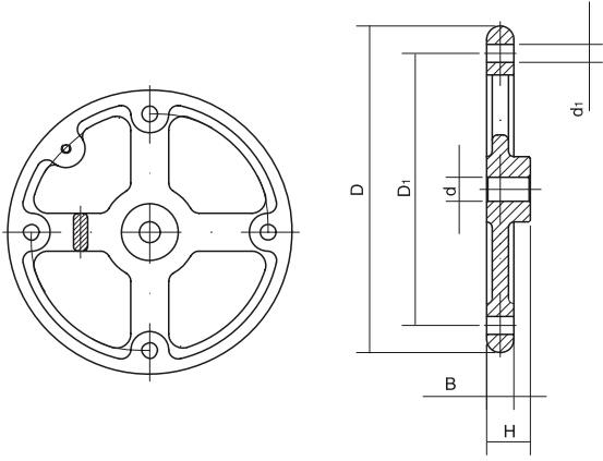HY8313.35圆轮缘外手轮结构图