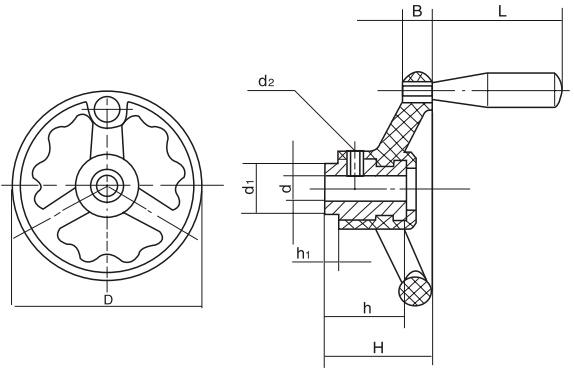 HY8313.36波纹圆轮缘手轮结构图