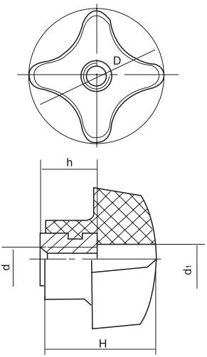 HY8314.3-1通孔十字把手结构图