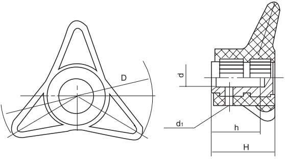 HY8314.8三角箭形把手结构图