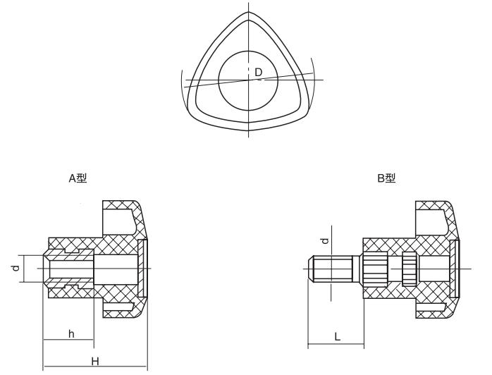 HY8314.20三棱把手结构图
