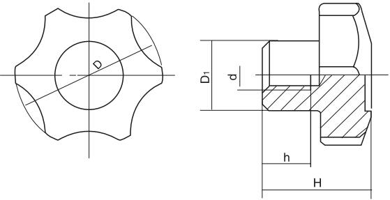HY8314.24六角星形把手结构图