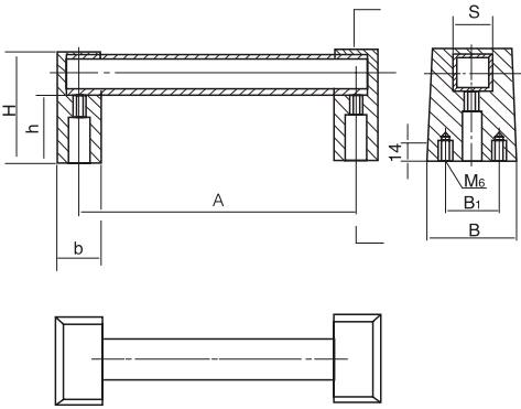 方形长拉手结构图