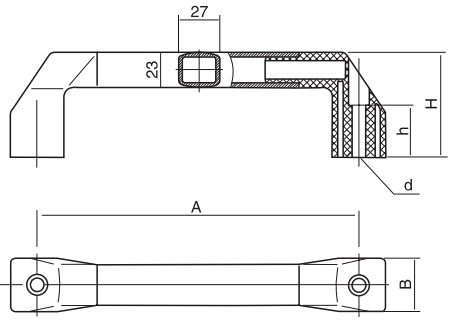 HY8315.6-1方形长拉手结构图