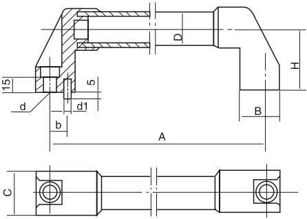 圆形长拉手结构图