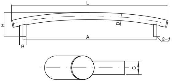 最新款弧形拉手结构图
