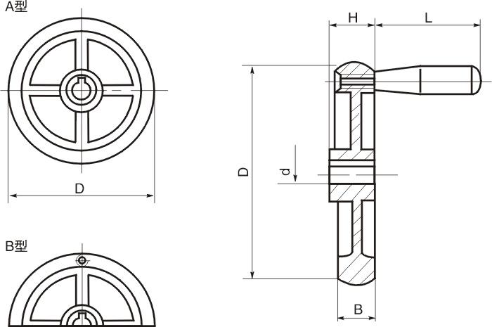 HY8313.25直辐条圆轮缘手轮结构图