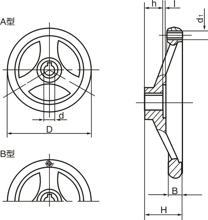 HY8313.27圆轮缘宽幅手轮结构图