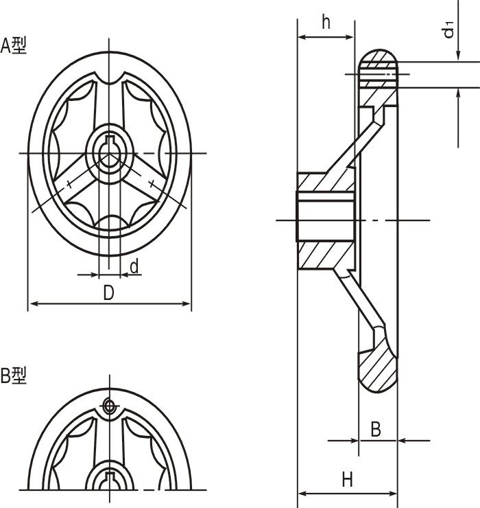 HY8313.28波纹圆轮缘手轮结构图