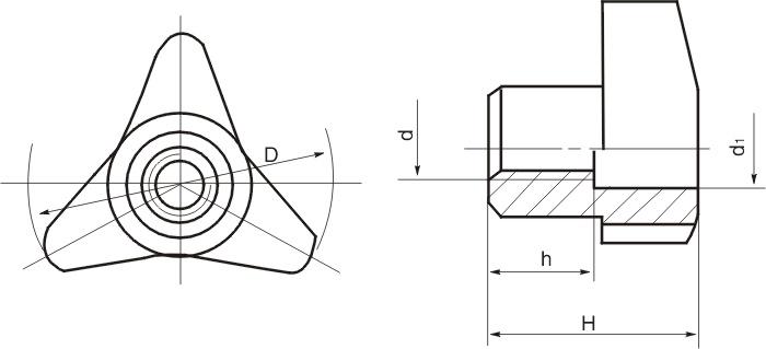 HY8314.21-1通孔三角形星形把手结构图